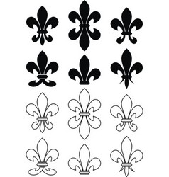 set of royal heraldic lily vector image