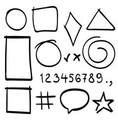sketch symbols sign sketch figure icons vector image
