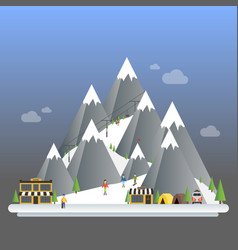 ski resort modern cartoon concept mountain vector image