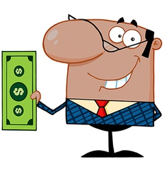 Smart banker with money vector