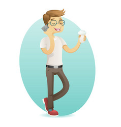 smiling geek happy hipster with smartphone hold vector image