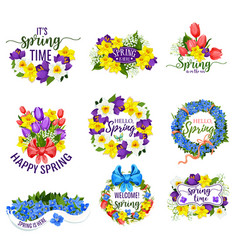 Spring flowers wreath and floral bouquets vector