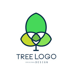 ttree logo original design green bio badge vector image vector image