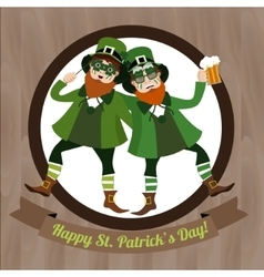 Two green leprechaun with beer and irish flag vector