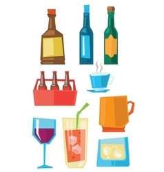 Various glasses and bottles of beverages vector image