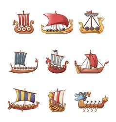 viking ship boat drakkar icons set cartoon style vector image