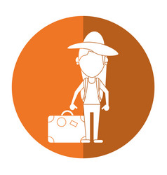 Woman traveling hat and suitcase shadow vector