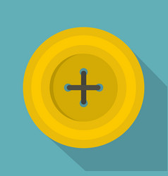 Yellow round sewing button icon flat style vector