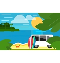 Seascape with colorful surfboards near mini van vector