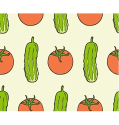 Seamless pattern of vegan food - tomato cucumber vector