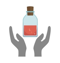hands with chemistry bottle vector image