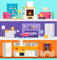 three colorful flat rooms to vector image