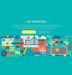 3d printer technology flat concept set 3d vector