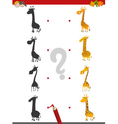 Shadow activity with giraffes vector