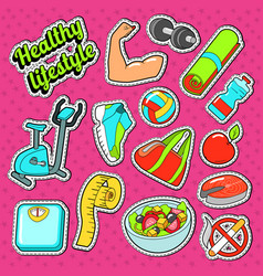 Woman healthy lifestyle doodle with sport elements vector
