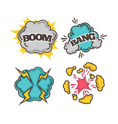 Bang and boom colorful cartoon effects with clouds vector