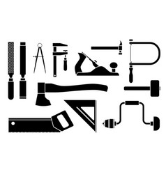 Carpentry icons woodwork tool set vector
