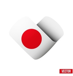 Flag icon in the form of heart I love Japan vector image