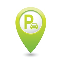 Parking icon map pointer green vector