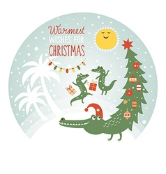 Cute african crocodiles  greeting card vector