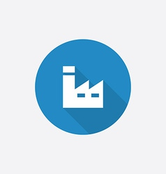 Factory flat blue simple icon with long shadow vector