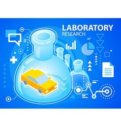 Bright laboratory research and car on blue b vector