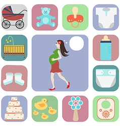 Set of icons pregnant vector