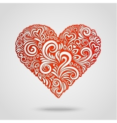 Red paper heart on gray vector