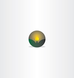 Mountain and moon night scene icon vector
