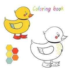 Coloring book duck kids layout for game vector