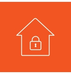 House with closed lock line icon vector