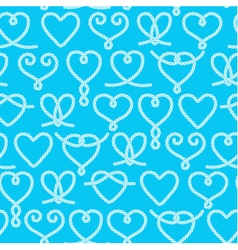 Seamless pattern made of rope hearts vector