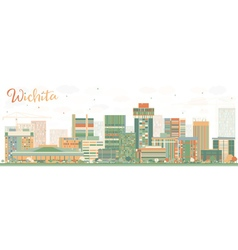 Abstract wichita skyline with color buildings vector