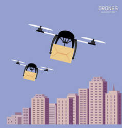 Air drones carrying cardboard cityscape background vector
