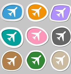 airplane icon symbols Multicolored paper stickers vector image vector image