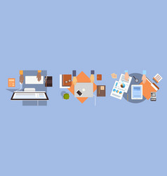 business people workplace desk hands working vector image vector image