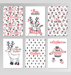 Christmas hand drawn printable cards vector