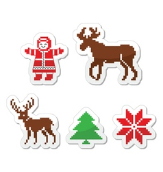 Christmas winter pixelated icons set vector image vector image