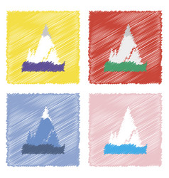 Collection of flat shading style icons iceberg vector