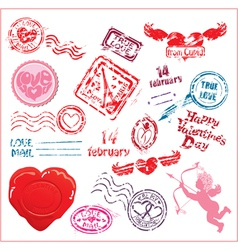 Collection of love mail design elements - postmark vector
