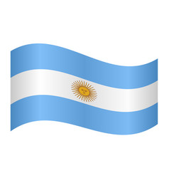 Flag of argentina waving on white background vector