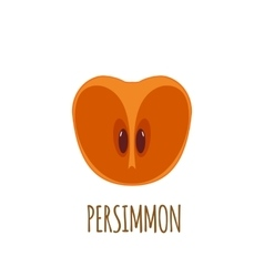 Half of persimmon icon in flat style vector