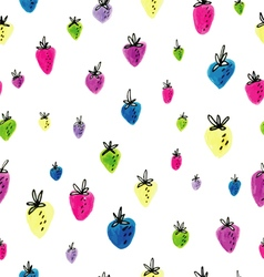 hand drawn strawberry pattern vector image