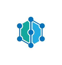 hexagon business technology logo vector image vector image