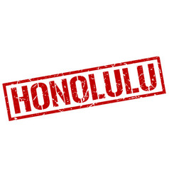 Honolulu red square stamp vector