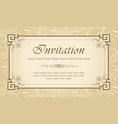 Invitation card design - vintage style vector