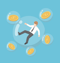 Isometric businessman and dollar coin floating in vector
