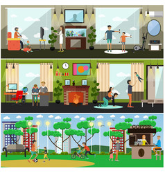 leisure activity with father vector image vector image