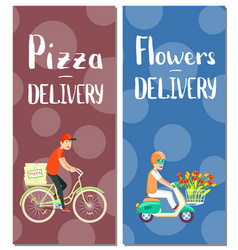 Pizza and flowers delivery flyers vector