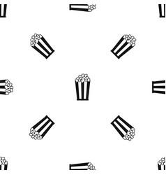 popcorn in striped bucket pattern seamless black vector image